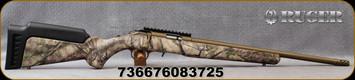 "Ruger - 22LR - American Rimfire Standard - GO Wild Camo I-M Brush Synthetic Stock/Burnt Bronze Cerakote, 18""Heavy Threaded(1/2""-28)Barrel, flush-mounted JMX-1, 10-round rotary magazine, Ruger Marksman Adjustable trigger, Mfg# 08372"