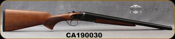 "Huglu - 12Ga/3""/20"" - Model 200AC - SxS Single Trigger - Turkish Walnut/Case Hardened Receiver w/hand engraving/Chrome-Lined Barrels, 5pc. Mobile Choke, SKU# 8681715399676, S/N CA190030"
