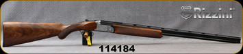 """Rizzini - 410Ga/3""""/28"""" - Aurum - Select Turkish Walnut Stock w/ Checkered Prince of Wales Grip, Rounded Forend/game scene & ornamental scroll engraving Coin Finish Receiver/Blued Barrels, Single Select Trigger, Auto Ejectors, Mfg# 139201, S/N 114184"""