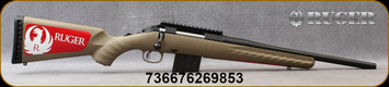 """Ruger - 350Legend - American Ranch Rifle - Bolt Action Rifle - Flat Dark Earth Synthetic Stock/Matte Blued, 16.38""""Threaded(1/2""""-28 x 0.4"""")Barrel, 5 round detachable magazine, Ruger Marksman Adjustabletrigger, 1-Piece picatinny rail, Mfg# 26985"""