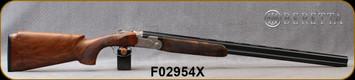 "Beretta - 20Ga/3""/28"" - Model 693 Vittoria Field - O/U - Grade 2.5+  Walnut Pistol Grip w/Semi-Monte Carlo/Game Scene Engraved Nickel Receiver/OBHP Steelium Barrels, OCHP Choke, 13.78LOP, Mfg# 4WC8PZ2200661, S/N F02954X"