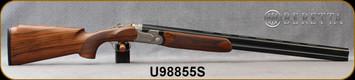 "Beretta - 12Ga/3""/28"" - Model 691 Vittoria Field - O/U - Grade 2.5+  Walnut Pistol Grip w/Semi-Monte Carlo/Floral Renaissance Style Engraved Nickel Receiver/OBHP Steelium Barrels, OCHP Choke, 13.78LOP, Mfg# 4WB6PZ2200761, S/N U98855S"