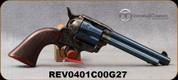 "Taylor's & Co - 357Mag - Cattleman Charcoal Blue - Checkered Walnut Grips/Case Hardened Frame/Charcoal Blued Barrel, Backstrap & Trigger Guard, 5.5""Barrel, Mfg# 0401C00G27"