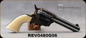 "Taylor's & Co - 38Spl - Cattleman Ivory - Checkered Ivory Grips/Case Hardened Frame/Blued, 4.75""Barrel, Blade Front Sight, Mfg# 0480G06"