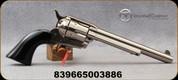 "Taylor's & Co - 45LC - Cattleman Nickel Black Grip - Revolver - Polymer Black Navy-Size Grips/Nickel Finish, 7.5""Barrel, Blade Front Sight, Mfg# 555115"