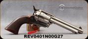 """Taylor's & Co - 357Mag - Model 1873 Cattleman Nickel - Checkered Walnut Grips/Nickel Finish, 5.5""""Barrel, Blade Front Sight, Mfg# 0401N00G27"""