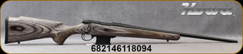 """Howa - 6.5Grendel - Model 1500 Mini Action Laminate - Bolt Action Rifle - Grey Laminate Stock/Blued, 22""""Standard contour Barrel, Mfg# HMGL65G - Slight scratch in right side of stock (pictured)"""