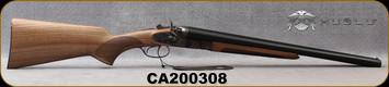 "Huglu - 12Ga/3""/20"" - 201HRZ - Sidelock Hammer Gun - Grade A Standard Grip Turkish Walnut/Case Hardened Receiver/Chrome-Lined Barrels, Double Trigger, SKU# 8681715392202, S/N CA200308"