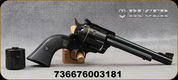 "Ruger - 357Mag/9mmLuger - New Model Blackhawk Convertible - Black Checkered Hard Rubber/Blued, 6.5""Cold hammer-forged barrel, ramp front and adjustable rear sights, Mfg# 00318"