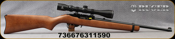 "Ruger - 22LR - 10/22 Carbine - Semi-Auto - Harwood Stock/Satin Black Metal Finish, 18.5""barrel, c/w factory-mounted Viridian Precision Optics EON 3-9x40 scope, plex reticle - Ruger-branded hard case, Mfg# 31159"