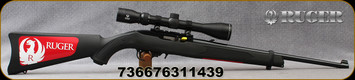 "Ruger - 22LR - 10/22 Carbine - Semi-Auto - Black Synthetic Stock/Satin Black Metal Finish, 18.5""barrel, c/w factory-mounted Viridian Precision Optics EON 3-9x40 scope, plex reticle - Ruger-branded hard case, Mfg# 31143"