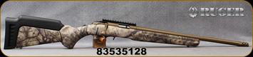 "Ruger - 17HMR - American Rimfire Standard - GO Wild Camo I-M Brush Synthetic Stock/Burnt Bronze Cerakote, 18""Heavy Threaded(1/2""-28)Barrel, flush-mounted JMX-1, 9-round rotary magazine, Ruger Marksman Adjustable trigger, Mfg# 08374 - Marks on barrel"