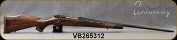 "Weatherby - 300WinMag - Vanguard Lazerguard - AA-grade Claro Walnut, Lazer engraved w/traditional oak leaf pattern/Blued, 26""Barrel, #2 Contour, Adjustable Match Quality, Two-stage Trigger, 1:10"", Mfg# VGZ300NR6O, S/N VB265312"