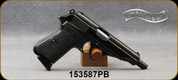 """Consign - Walther - 9mm - PP - Black Checkered Grips/Blued, 4.5""""Barrel - Built in 1938, used in WWII - Rare magazine release & caliber for model - Was rebarrelled to make restricted from Prohib - only 100 rounds w/new barrel - in non-original box"""