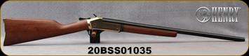 "Henry - 20Ga/3""/26"" - American Walnut Straight English Stock/Brass Receiver and buttplate/Black Matte Barrel finish, rebounding external hammer, Model # H015B-20, S/N 20BSS01035"