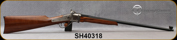 """Taylor's & Co - Pedersoli - 30-30Win - Sharps Small Betsy - American walnut/Engraved Nickle Receiver/Blued, 24""""Round Barrel, Double Set Trigger, Sights set Inclued Tunnel front sight & folding Creedmoor sight, Mfg# S762.303, S/N SH40318"""