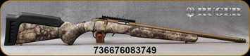 "Ruger - 17HMR - American Rimfire Standard - GO Wild Camo I-M Brush Synthetic Stock/Burnt Bronze Cerakote, 18""Heavy Threaded(1/2""-28)Barrel, flush-mounted JMX-1, 9-round rotary magazine, Ruger Marksman Adjustable trigger, Mfg# 08374"