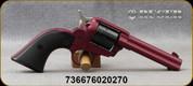 "Ruger - 22LR - Wrangler - 6-Round Revolver - Black Checkered Synthetic Grips/Black Cherry Cerakote Finish, 4.62""Barrel, Blade Front Sight, Mfg# 02027"
