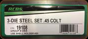RCBS - 3 Die Steel Set - 45 Colt - 19108