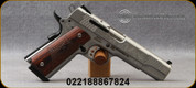 """Smith & Wesson - 45ACP - Model SW1911 Machine Engraved - Single Action Semi-Auto - Wooden Laminate E-Series Grips/Stainless, 5""""Barrel, White Dot Sights, Mfg# 10270"""