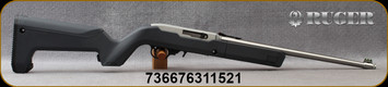 """Ruger - 22LR - 10/22 Takedown - Semi-Auto Rimfire Rifle - Stealth Gray Magpul X-22 Backpacker Stock/Satin Stainless, 16.63""""Threaded(1/2""""-28)Barrel, (4) BX-1 magazines, Mfg# 31152"""