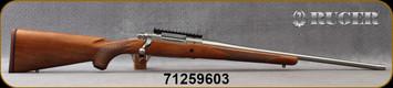 "Ruger - 6.5PRC - M77 Hawkeye Hunter - American Walnut Stock/Satin Stainless, 22""Threaded(5/8""-24)Barrel, 20 MOA Picatinny rail, LC6 Trigger.Mfg# 57105, S/N 71259603"