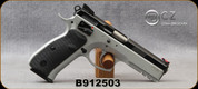 """Consign - CZ - 9mm - Model 75 SP-01 Shadow - DA/SA Semi-Auto Pistol - Rubber Grips, Two-Tone Black Polycoat/Gloss Blue Slide & Silver Frame/4.61""""Hammer Forged Barrel, Fiber Optic Front & Fixed Rear Sights, (3)10rd Magazines, Mfg# 0424-0734-7815010 -"""