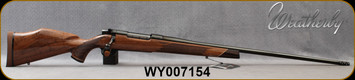 """Weatherby - 340WbyMag - Mark V Deluxe - AA fancy grade Claro walnut Monte Carlo stock w/rosewood caps & Maplewood spacers/High Lustre Blued, 26"""" #2 Contour Barrel, Triggertech Trigger, Mfg# MDX01N340WR8B, S/N WY007154"""