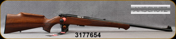 "Anschutz - 22LR - Model 1710 D KL Monte Carlo - Bolt Action Rimfire Rifle - Walnut Monte Carlo Stock/Blued, 23""Barrel, Adjustable Folding Leaf Rear Sight, Hooded Front Sight, Single-Stage Trigger, Mfg# 000439, S/N 3177654"