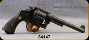 """Consign - Smith & Wesson - 455Webley - 1917 Hand Ejector 2nd Model - Checkered Walnut Grips/Blued, 6.4""""Round Barrel, c/w Black Leather Holster"""