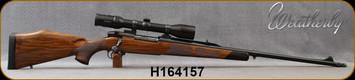 "Consign - Weatherby - 340WbyMag - Mark V Safari Magnum - Walnut Stock/Blued, 24""Threaded Barrel, c/w muzzle brake, thread protector, Swarovski Habicht, 2.5-10x42mm, Plex reticle, QD rings - Only 30 rounds fired"