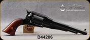 "Uberti - 44Cal - Model 1858 New Army - Black Powder Revolver - Walnut Grips/Brass Trigger Guard/Blue Steel Frame and Back Strap, 8""Octagonal Barrel, Mfg# 107"
