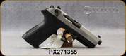 "Beretta - 9mm - PX4 Storm Inox - Double/Single-Action Semi Auto - Black Frame/Matte Stainless Slide, 4.17""Barrel, (2)10rd magazine, (2) spare interchangeable backstraps, Speed Loader, Mfg# JXF9F50C - Open Box Item, S/N PX271355"