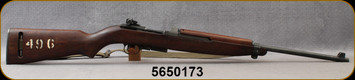 """Used - Winchester - 30Cal - M1 Carbine - American Hardwood Stock/Parkerized Finish, 19.5""""barrel, Green Synthetic Sling, Shrouded Blade Front Sight, Adjustable Rear Sight"""