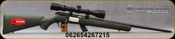 """Savage - 22LR - Mark II XP Package - Bolt Action Rifle - Green Synthetic Stock/21""""Blued Barrel, 10 Round Detachable Magazine, Weaver 3-9x40mm Scope, Mfg# 26721"""