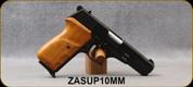 "Zastava - 10mm - Model P10 - Semi-Auto Pistol - Wood Grip/Blued Finish, 4.56""Barrel, Fixed Sights, (2) 8rd magazines - STOCK IMAGE"