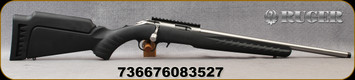 """Ruger - 22WMR - American Rimfire Standard - Black Synthetic Stock/Stainless, 18""""Heavy Threaded(1/2""""-28)Barrel, flush-mounted JMX-1, 9-round rotary magazine, Ruger Marksman Adjustable trigger, Mfg# 08352"""