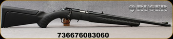 """Ruger -22LR - American Rimfire Compact - Bolt Action Rifle - Black Composite Stock w/Interchangeable LOP stock Modules/Satin Blued, 18""""Threaded(1/2x28) Barrel, Ruger Marksman Adjustable Trigger, Mfg# 08306"""