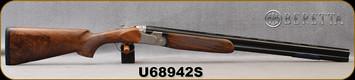 """Beretta - 12Ga/3""""/28"""" - Model 695 Field- Grade AAA Walnut Stock/Nickel Deep Floral Engraving/Steelium Barrels, OBHP, 6x6 Rib, Mfg# 4WA6P3L200863, S/N U68942S - Demo Model"""