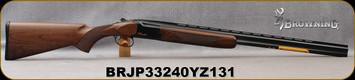 "Browning - 28Ga/2.75""/28"" - Citori Hunter Grade I - O/U - Satin finish Grade I American walnut stock/Gloss Finish Blued Metal w/Gold Enhancement on Receiver, Three flush choke tubes(F, M, IC), Silver Bead Front Sight, Mfg# 018258813, S/N BRJP33240YZ1"