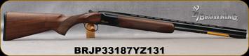 "Browning - 28Ga/2.75""/26"" - Citori Hunter Grade I - O/U - Satin finish Grade I American walnut stock/Gloss Finish Blued Metal w/Gold Enhancement on Receiver, Three flush choke tubes(F, M, IC), Silver Bead Front Sight, Mfg# 018258814, S/N BRJP33187YZ1"