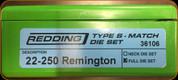 Redding - Type S-Match Die Set - 22-250 Rem - 36106
