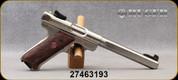 "Used - Ruger - 22LR - Mark III Target - Walnut Taget Grips/Satin Stainless Finish, 6 7/8""Slab-Sided Target Bull Barrel, (2)10rd Magazines, Model: KMKIII678GC, Mfg# 10112 - In original case"