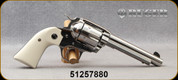 """Used - Ruger - 357Mag - New Vaquero Bisley - Single Action 6-Round Revolver - Simulated Ivory Grip/Stainless Steel, 5.5""""Barrel, Mfg# 05130 - New, In original case"""
