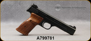 """Used - Smith & Wesson - 22LR CTG - Model 41 - Single Action - Semi-Auto Rimfire Pistol - Wood Target Grips/Blued Finish, 5.5""""Carbon Steel barrel, (2)10rd magazines - in original box"""