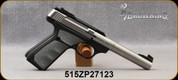"""Used - Browning - 22LR - Buck Mark Camper Stainless UFX - Semi Automatic Rimfire Pistol - UFX Gray Overmolding Grip/Matte Stainless Finish, 5.5"""" Barrel, 10 Round Capacity, Mfg# 051483490 - in original case"""