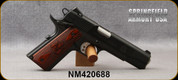 """Consign - Springfield - 45ACP - 1911-A1 Loaded pkg - Cross Cannon Double Diamond Cocobolo Grips/Forged Carbon Steel, Parkerized Finish, 5""""Stainless Match Grade Barrel, 3 Dot Night Sights - only 15rds fired - In orig.case"""