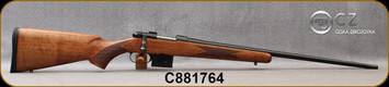 "CZ - 6.5Grendel - Model 527 American - Bolt Action Rifle - American Style Turkish Walnut Stock/Blued, 24"" Barrel, 5 Round Detachable Magazine, No Sights Integrated 16mm Scope Base, Mfg# 5274-0857-MFAKAB5, S/N C881764"