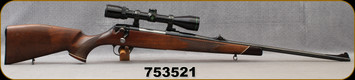 """Consign - Voere - 6.5x55SE - Model HDF Deluxe - Checkered Walnut Stock w/rosewood forend tip/Blued, 24""""barrel, Jewelled Bolt, factory sights, c/w Bushnell Buckhorn Wide-Angle, 3-9x40mm scope, Plex reticle"""