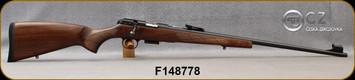 CZ - 22WMR - Model 457 LUX - Bolt Action Rimfire Rifle - Turkish Walnut European-Style Stock/Blued, 24.8?Threaded(1/2x20) Barrel, Adjustable Iron Sights, Integrated 11mm Dovetail, Mfg# 5084-8882-BADMAAX, S/N F148778